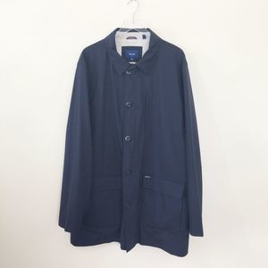 Faconnable Trench Coat Blue Full Zip Button Jacket